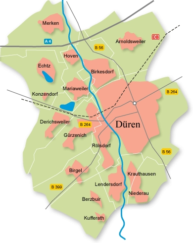 Ambulante Pflege in Düren - Versorgungsgebiet